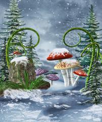 Baśniowa łąka z kolorowymi grzybami zimą