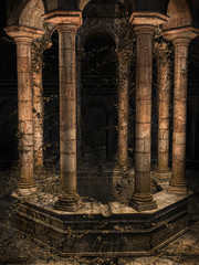 Stara gotycka studnia z bluszczem