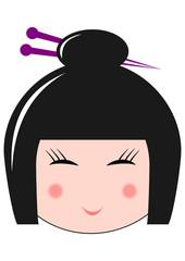 Geisha japonaise aux yeux fermés