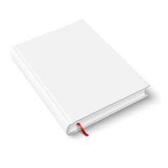 Blank book template with bookmark.