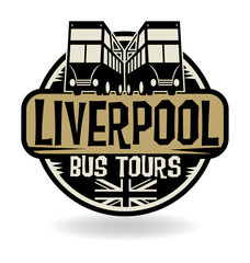 Abstract stamp with text Liverpool, Bus Tours