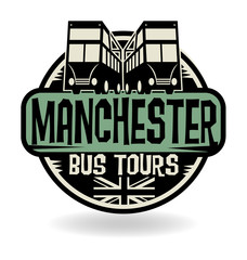 Abstract stamp with text Manchester, Bus Tours
