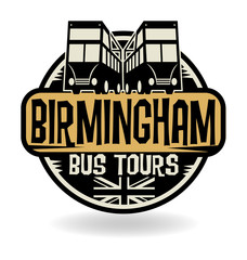 Abstract stamp with text Birmingham, Bus Tours
