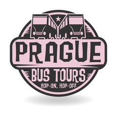 Abstract stamp with text Prague, Bus Tours