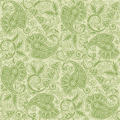 Seamless paisley background of pale green and tan colors