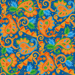 Seamless multicolor paisley background