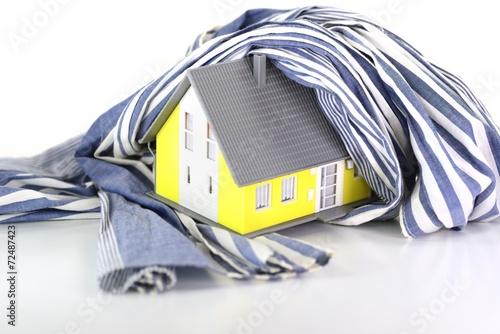 canvas print picture Wärmedämmung am Haus mit Schal
