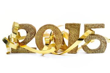 ruban doré dans chiffres 2015