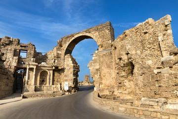 Vespasian Gate ancient ruins, Side, Turkey