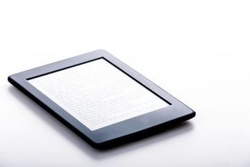 black ebook reader or tablet on white background