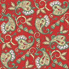Seamless paisley pattern suitable for Christmas projects