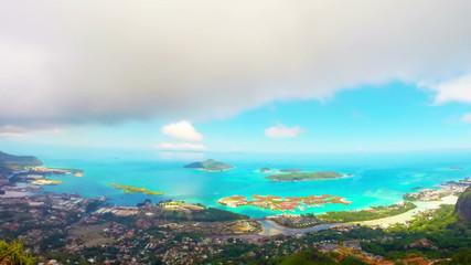 Aerial view of Mahe coastline  timelapse, Seychelles
