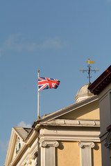 Union Jack flag on top of building