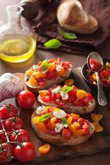 Italian bruschetta with tomatoes garlic olive oil