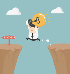 fat businessman holding a light bulb over the cliff