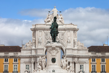 King Jose I Statue and Rua Augusta Arch in Lisbon