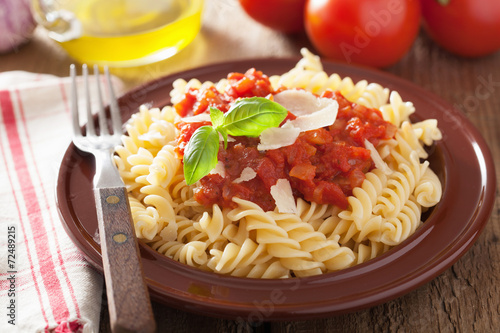 "italian classic pasta fusilli with tomato sauce and basil"" Stockfotos ..."