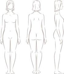 Vector illustration of female silhouette