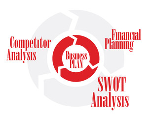 Business plan circle red and gray color chart