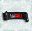 Black Friday sale background with black realistic ribbon banner - 72490244