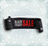 Black Friday sale background with black realistic ribbon banner