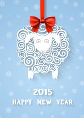 Abstract New Years sheep 2015 year symbol