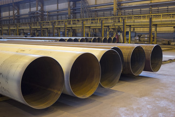Large diameter pipes are in industrial workshop