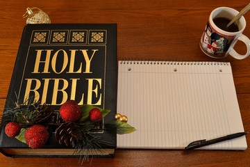 Holy Bible (Christmas) with Notebook (Text Space)