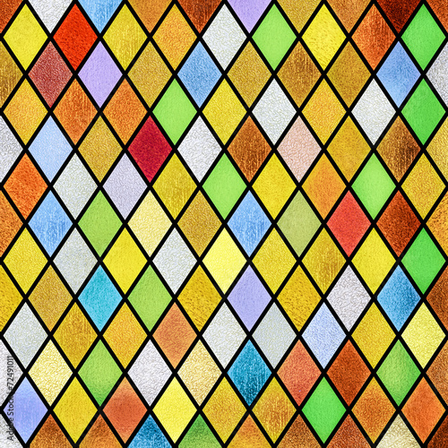 colorful abstract stained glass window background - 72491011