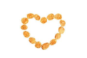 Image of heart shape made of corn flakes