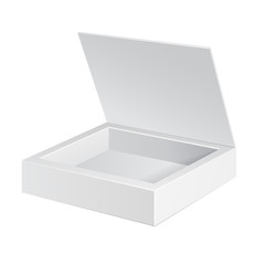Opened White Cardboard Package Box