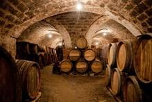 "Постер, картина, фотообои ""Barrels in a hungarian wine cellar"""
