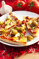 slice of pizza with olives and tomatoes