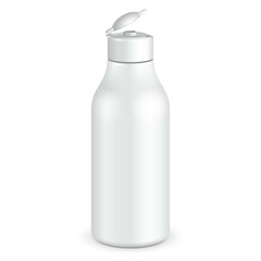 Opened Cosmetic Or Hygiene Grayscale White Plastic Bottle Of Gel