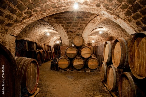 Barrels in a hungarian wine cellar - 72492080