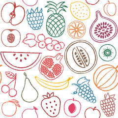 Hand drawn fruit seamless pattern background 3