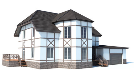 house on a white background. 3D Illustration