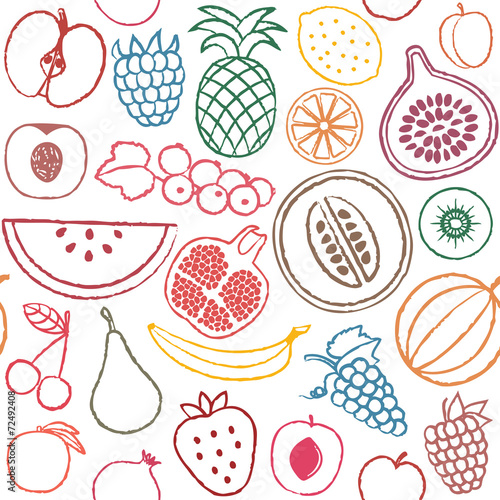 Hand Drawn Fruit Icons Stock