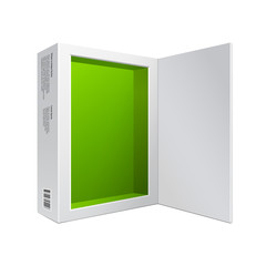 Opened White Modern Software Package Box Green Inside