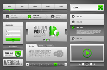 Modern Clean Website Design Elements Grey Green