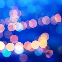 beautiful city blurring lights abstract circular bokeh blue back