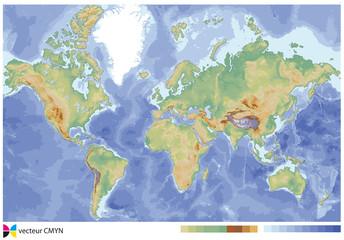 carte du monde relief