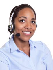 Frau aus Afrika mit Headset