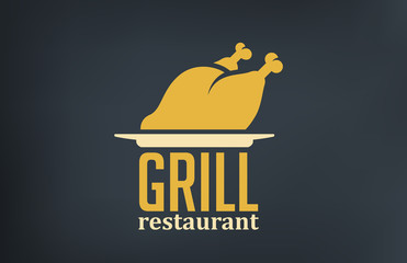 Grill Restaurant Logo design vector. Roasted Chicken