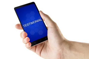 testimonial word on digital smart phone