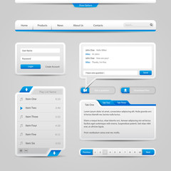 Web UI Controls Elements Gray And Blue On Light Background