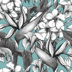 Monochrome seamless pattern with exotic flowers