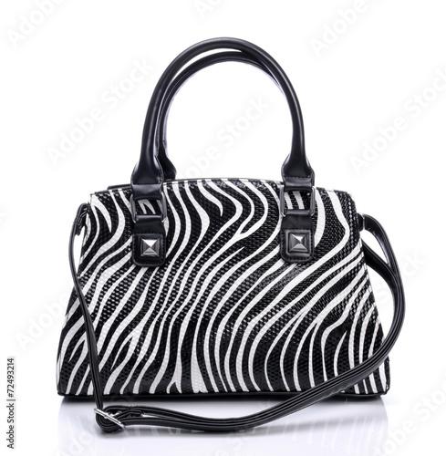 Handbag in zebra pattern on a white background - 72493214