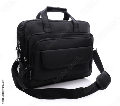 Black laptop bag on a white background