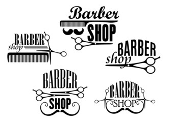 Barber Shop badges or signs set